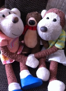 Me, Monkey and Hugless Douglas now just called Douglas cos he's got loads of hugs now hehe
